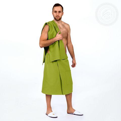 Набор для бани и сауны мужской фисташка вафельное полотно