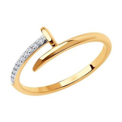 018681 - Кольцо Гвоздь  из золота с фианитами