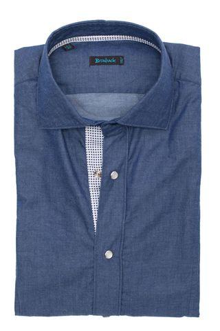 Синяя рубашка со стеклянными пуговицами-кнопками с белой планкой в синюю крапинку