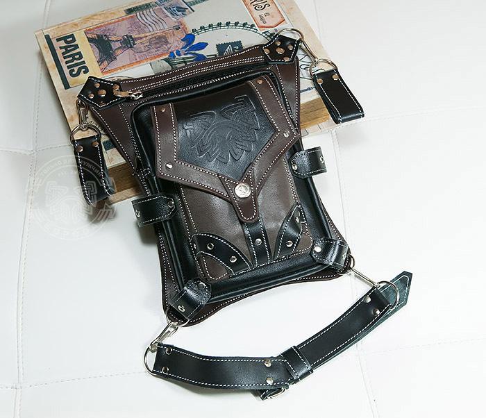 BAG373-5 Крутая мужская набедренная сумка (мото сумка) ручной работы из кожи фото 02