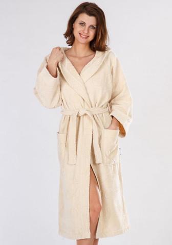 Велюровый махровый халат с капюшоном, бежевый