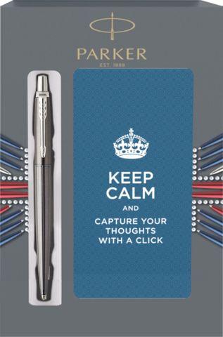 Подарочный набор с блокнотом и Шариковая ручка Parker Jotter Premium, Oxford Grey Pinstripe CT123