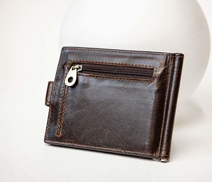WL308-2 Кожаный зажим для купюр коричневого цвета фото 03