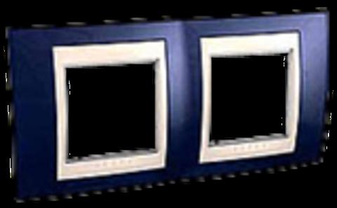 Рамка на 2 поста. Цвет Индиго/Бежевый. Schneider electric Unica Хамелеон. MGU6.004.542