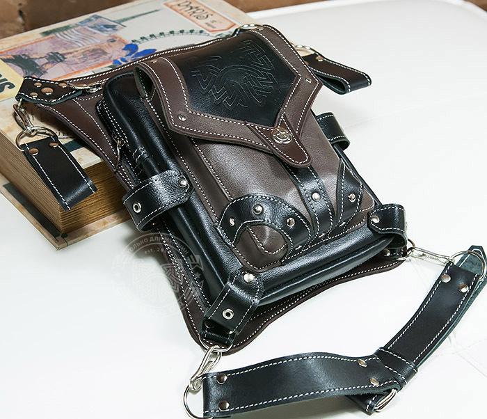 BAG373-5 Крутая мужская набедренная сумка (мото сумка) ручной работы из кожи фото 03