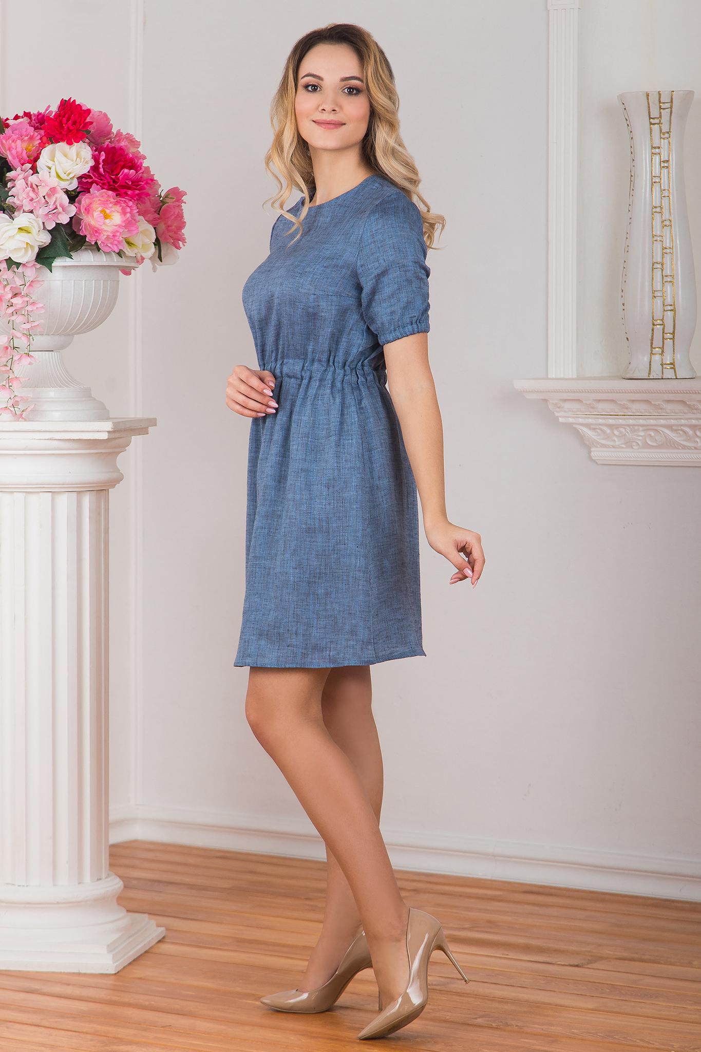 Вид сбоку Платье льняное Синий меланж