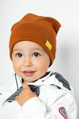 Детская шапка хлопковая гладкая карамельно-коричневая