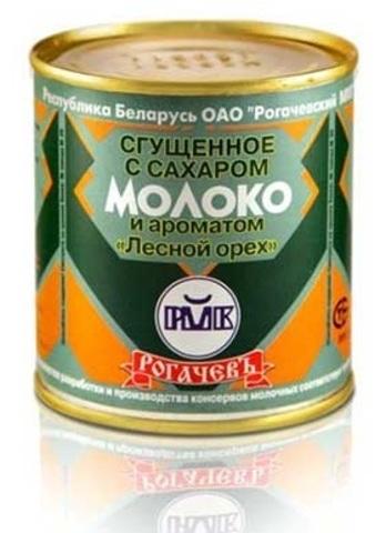Молоко цельное сгущённое с сахаром и ароматом лесного ореха 8,5% 380г. Рогачёв