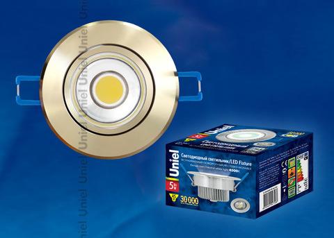 ULM-R31-5W/NW IP20 GOLD картон Светильник светодиодный встраиваемый поворотный, 110-240В. Материал корпуса алюминий, цвет золотой. Белый свет.