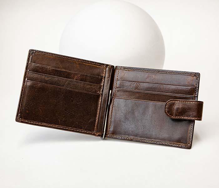 WL308-2 Кожаный зажим для купюр коричневого цвета фото 04