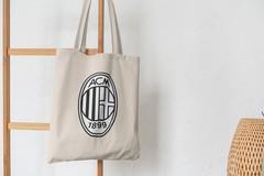 Сумка-шоппер с принтом FC ACM Milan (ФК Милан) бежевая 003
