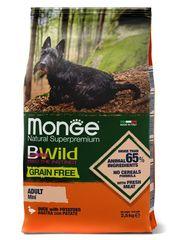 Корм для собак мелких пород Monge Dog BWild GRAIN FREE Mini утка с картофелем, беззерновой