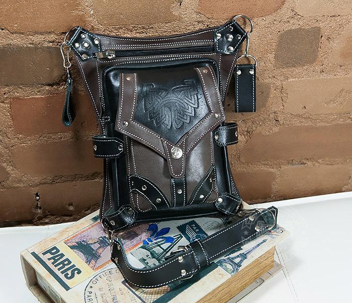 BAG373-5 Крутая мужская набедренная сумка (мото сумка) ручной работы из кожи фото 04