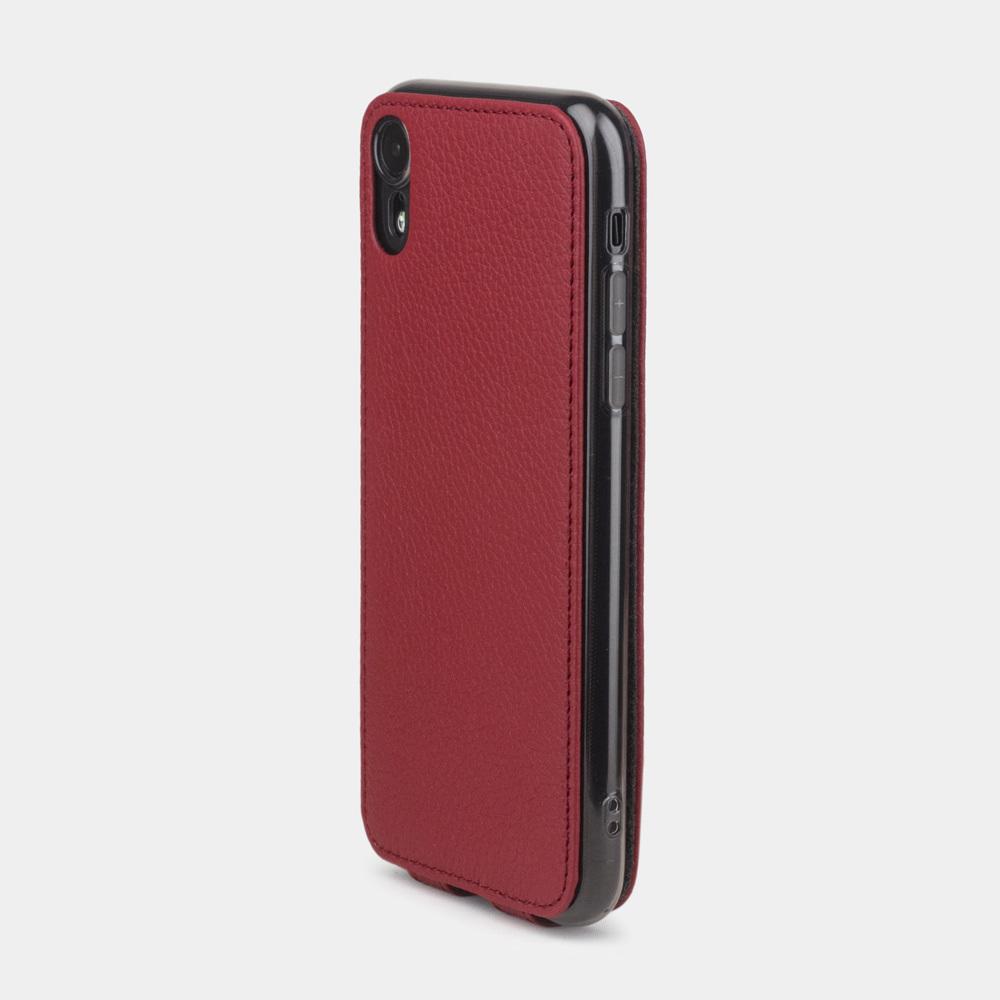 Чехол для iPhone XR из натуральной кожи теленка, вишневого цвета