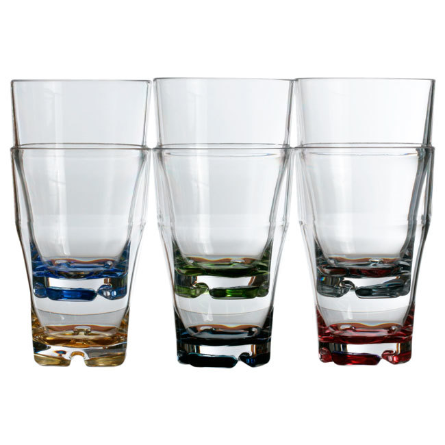STACKABLE BEVERAGE GLASS -COLOURED BASE, PARTY