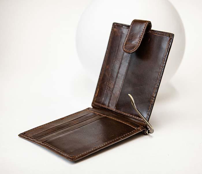 WL308-2 Кожаный зажим для купюр коричневого цвета фото 05