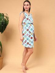 Мамаландия. Сорочка для беременных и кормящих с горизонтальным секретом и рукавом-крылышком, пончики/голубой