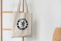 Сумка-шоппер с принтом FC Chelsea (ФК Челси) бежевая 007