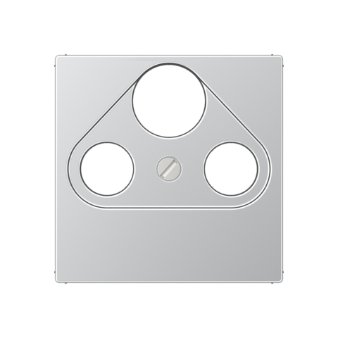 Розетка TV SAT FM универсальная, проходная, диапазон частот от 4 до 2400 MГц. Цвет Алюминий. JUNG A. S4110+A561PLSATAL
