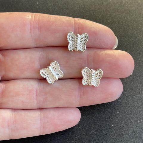 Бусина Бабочка 10 мм серебро 925