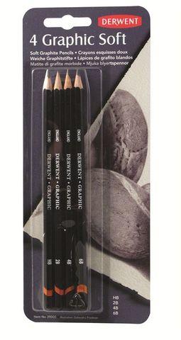 Набор чернографитных карандашей GRAPHIC SOFT 6B,4B,2B,HB 4шт., блистер