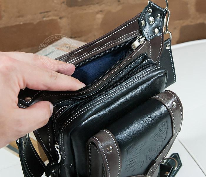 BAG373-5 Крутая мужская набедренная сумка (мото сумка) ручной работы из кожи фото 05