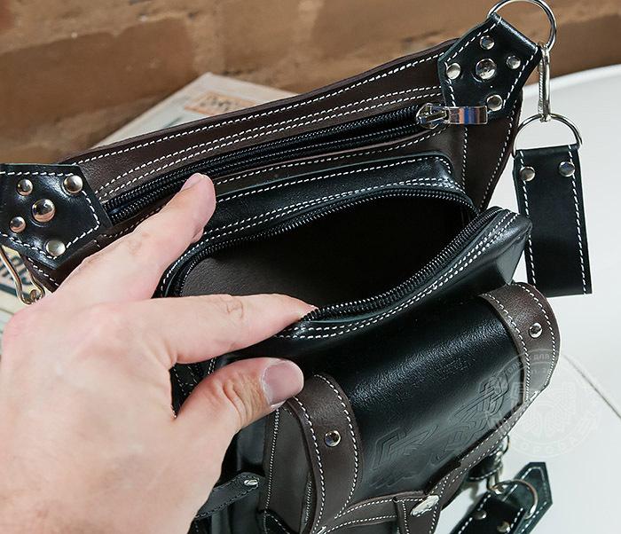 BAG373-5 Крутая мужская набедренная сумка (мото сумка) ручной работы из кожи фото 06