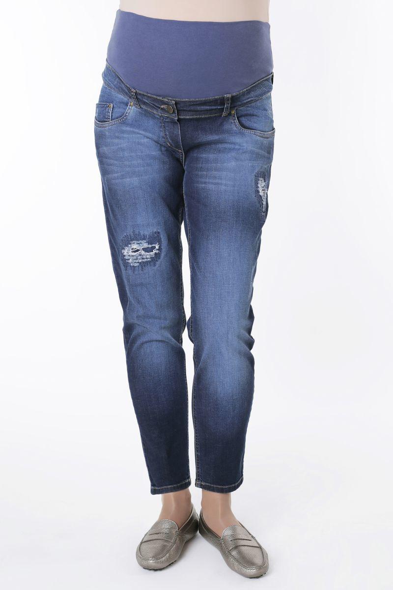 Фото джинсы-бойфренды для беременных MAMA`S FANTASY, средняя посадка, плотный деним, короткая вставка от магазина СкороМама, синий, размеры.