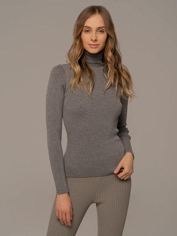 Женская водолазка светло-серого цвета из 100% шерсти - фото 2
