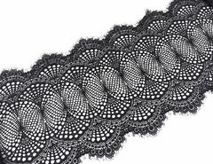 Эластичное кружево, 23 см, черное с ресничками, (Арт: EK-2507), м