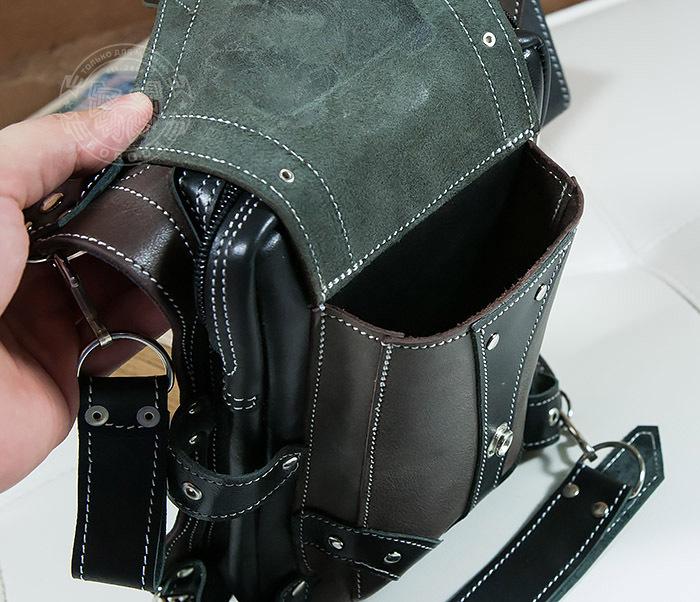 BAG373-5 Крутая мужская набедренная сумка (мото сумка) ручной работы из кожи фото 07