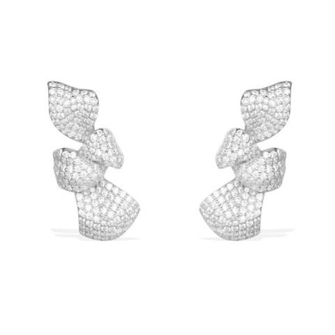 Серьги Бантики из серебра с  микроцирконами в стиле  APM MONACO
