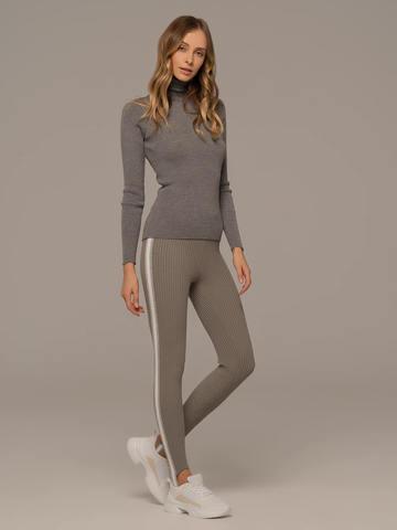Женская водолазка светло-серого цвета из 100% шерсти - фото 5
