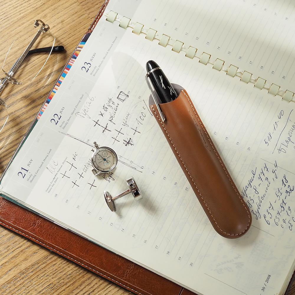 Чехол для ручки Mine Bicolor из натуральной кожи теленка, коричневого цвета