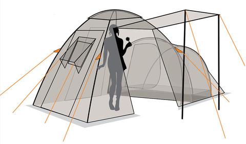 Палатка Canadian Camper HYPPO 4, цвет woodland, схема 2.