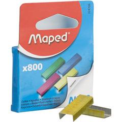 Скобы для степлера №10 MAPED  цветные (2-20 лист) 800 шт в уп европодвес