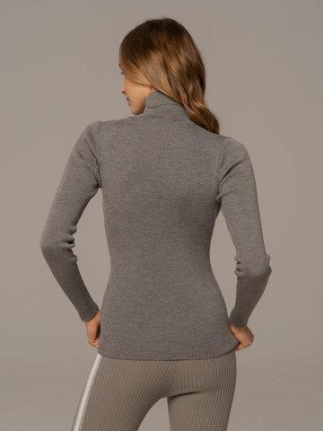 Женская водолазка светло-серого цвета из 100% шерсти - фото 4