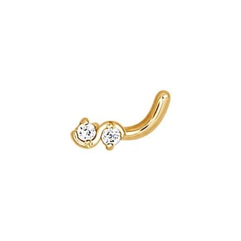 7083 - Пирсинг для носа из золота с 2-мя фианитами
