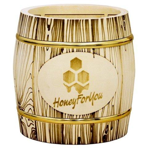 Деревянный бочонок с липовым мёдом HoneyForYou, 0,3 кг