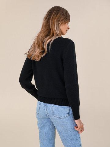 Женский свитер черного цвета из шерсти и кашемира - фото 4
