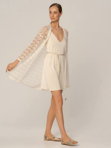 Женское платье белого цвета из шелка и вискозы - фото 3