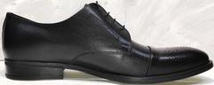 Красивые мужские туфли на свадьбу Ikoc 2249-1 Black Leather.