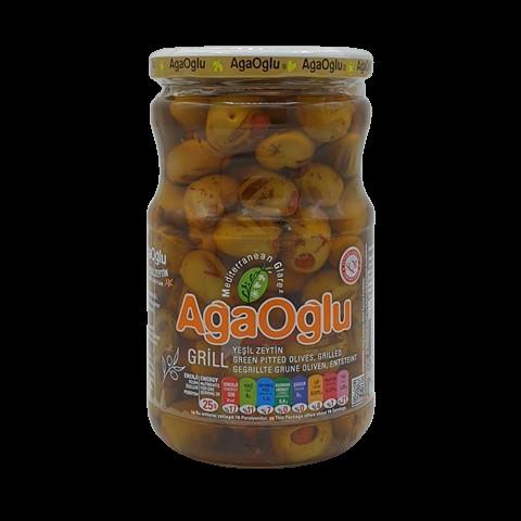 Оливки жареные на гриле фаршированные сладким перцем AGAOGLU, 720 гр