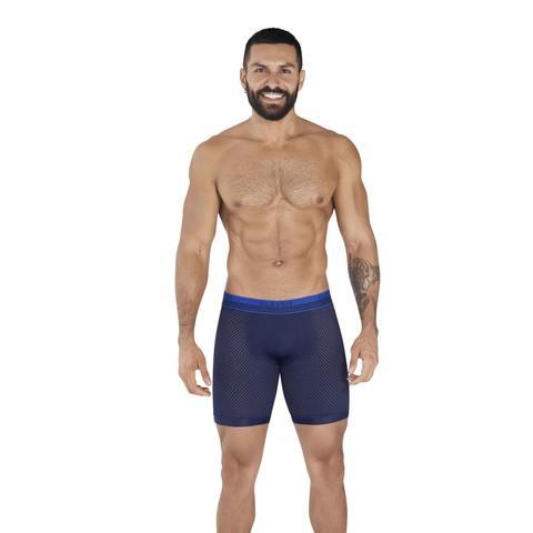 Мужские трусы боксеры удлиненные темно-синие в сетку Clever PROCESS LONG BOXER 036508