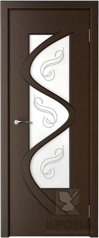 Дверь Крона Вега, стекло матовое с рисунком, цвет венге, остекленная