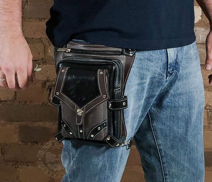 BAG373-5 Крутая мужская набедренная сумка (мото сумка) ручной работы из кожи фото 09