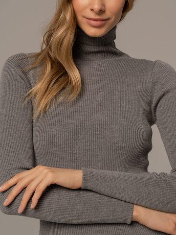 Женская водолазка светло-серого цвета из 100% шерсти - фото 3