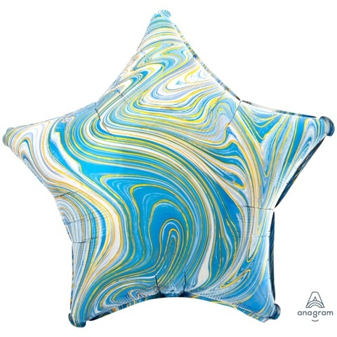 Воздушный шар с гелием Звезда Голубой мрамор, 45 см