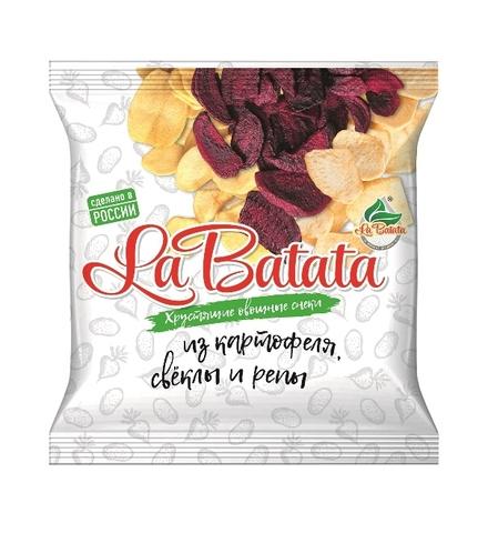 Хрустящие овощные снеки La Batata Картофель, свекла и репа 25 г