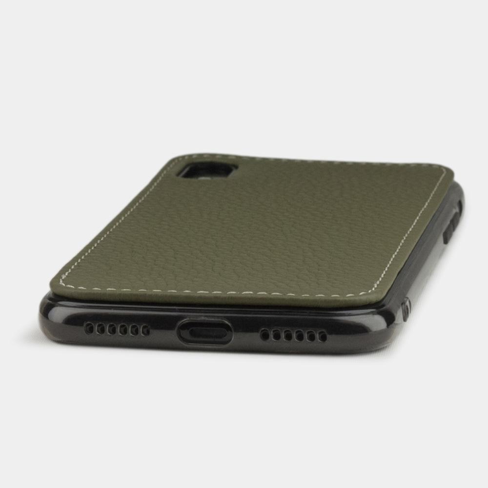 Чехол-накладка для iPhone X/XS из натуральной кожи теленка, зеленого цвета